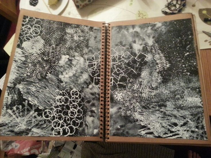 AS Level Art sketchbook. Theme of Dockside - Mark making with black and white paint (Megan Clarke)
