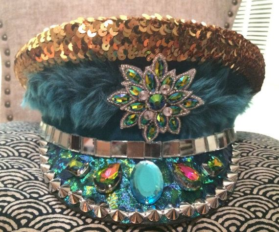 Turquoise Temptress Knock Out Military Cap Hat by ReadyToWow