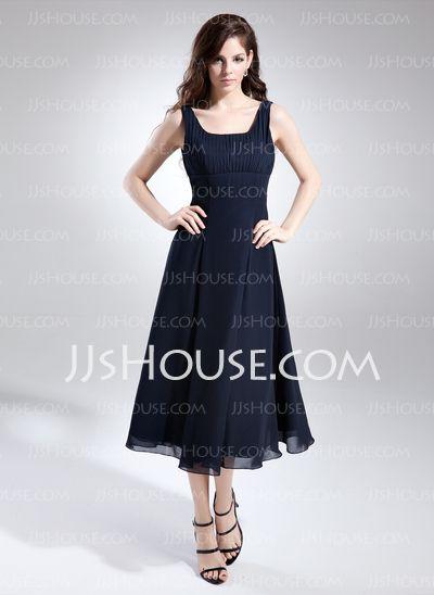 Bridesmaid Dresses - $99.99 - A-Line/Princess Square Neckline Tea-Length Chiffon Bridesmaid Dress With Ruffle (007015675) http://jjshouse.com/A-Line-Princess-Square-Neckline-Tea-Length-Chiffon-Bridesmaid-Dress-With-Ruffle-007015675-g15675