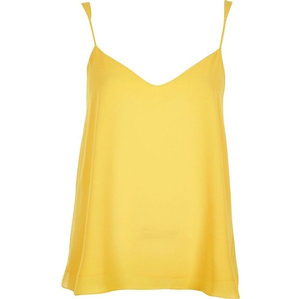 River Island Bright yellow V-neck cami ($32) ❤ liked on Polyvore featuring tops, shirts, camisoles, blusas, cami / sleeveless tops, women, yellow, sleeveless tops, camisoles & tank tops and yellow v neck shirt