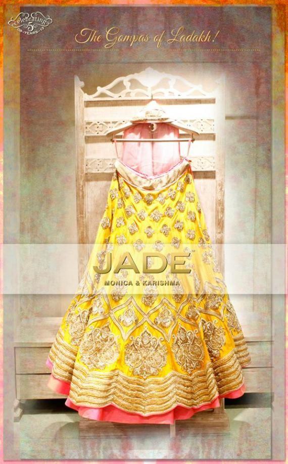 Bridal Lehengas - Bright Yellow Lehenga with Zari work and Gold Border…