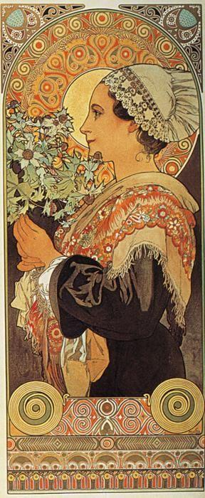 ❤ - Alphonse Mucha |  Bruyère et Chardon - série de deux - 1901. Chardon des sables / Thistle from the sands.