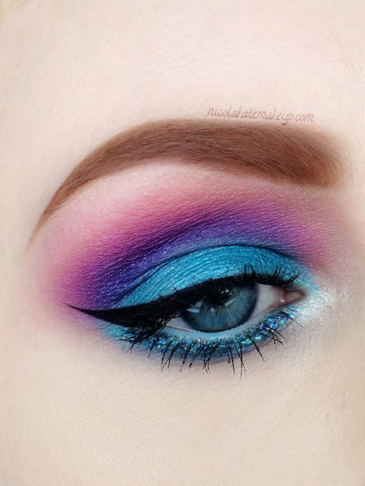 Turquoise, pink and purple eye makeup!  Come to Skinthetics Laser Hair Removal  Skin Care Center in West Bloomfield, MI for all of your personal pampering needs!  Call (248) 855-6668 to schedule an appointment or visit www.skintheticscenter.com to find out more information!