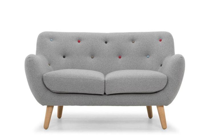 Grey Small 2 Seater Sofa Knebworth Light Grey Multi Coloured Button | Kennington