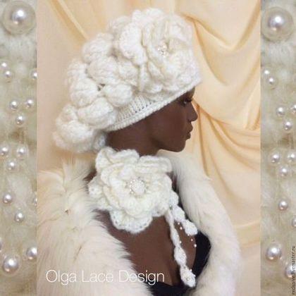 """Купить Вязаный комплект """"Luxuriant Cloud"""" - бежевый, кремовый, вязаная шапка, объемная шапка"""