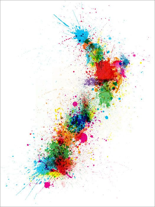 New Zealand Paint Splashes Map, Art Print 18x24 inch (769). £14.99, via Etsy.