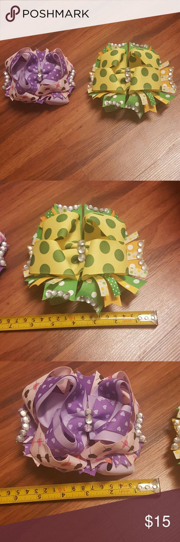 Large Hairbows Super cute large hairbows Both attached to french clips Accessories Hair Accessories