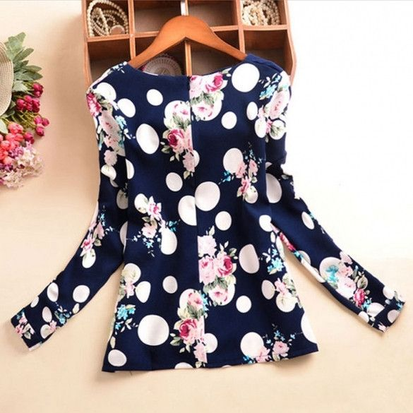New Lady Womens Polka Dot Floral Printed O-Neck Long Sleeve Roll-up Cuffs Tops Blouses