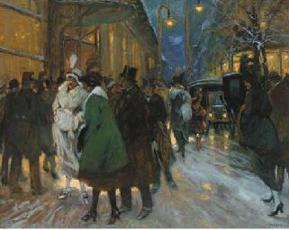 Antal Berkes (1874-1938)  A Paris street at night signed and dated '1920