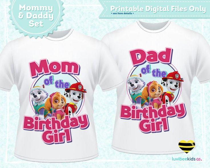 Paw Patrol Iron On Design - Pink | Mom & Dad of the Birthday Girl Set | Digital File - LuvibeeKidsCo