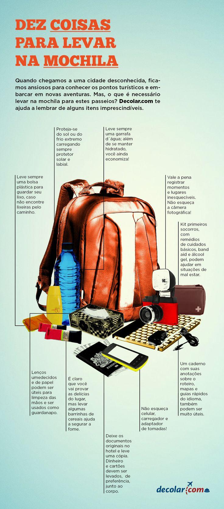 Infografia - 10 coisas para levar na mochila