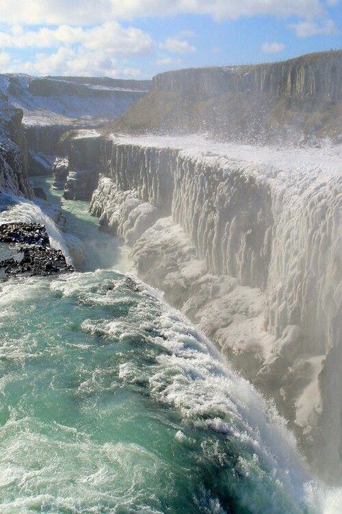 Waterfall Gullfoss, Iceland.
