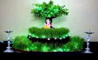 Natural grass ganpati