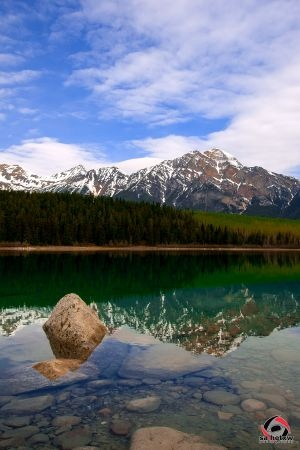 Patricial Lake with Pyramid Mountain in the background, Jasper Alberta    - sharing encouraged, please do not remove logo -