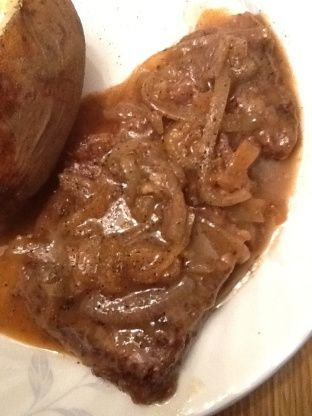 A nice change to broiling or grilling, the gravy is delicious. I always serve this with mashed potatoes.