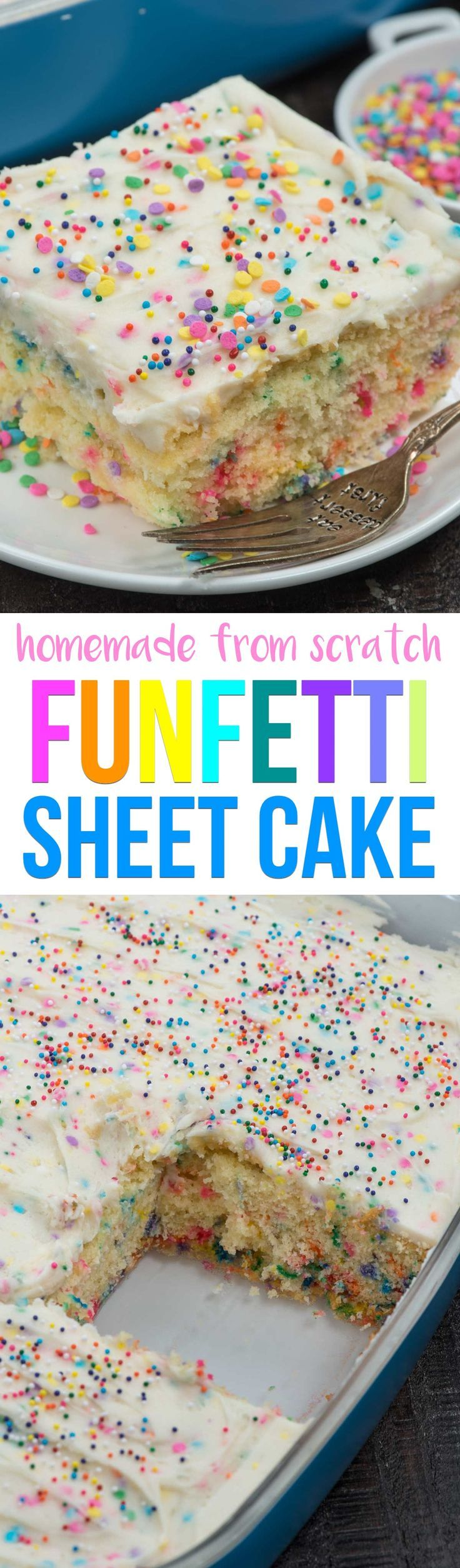A from scratch Homemade Funfetti Cake is the perfect cake for any birthday or occasion! Fluffy white cake mix is full of sprinkles, topped with a heavenly sprinkle buttercream frosting! via @crazyforcrust