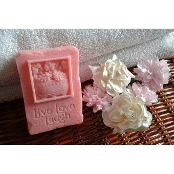 Ecstasy scented handmade Live Laugh Love design soap
