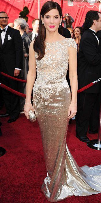 The Most Breathtaking Oscars Gowns - Sandra Bullock, 2010 Anne Hathaway glowed like a pearl in Giorgio Armani.