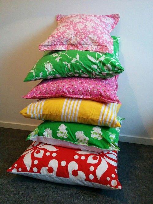 Sara kan själv - sy kuddöverdrag, retro tyger, pillowcase