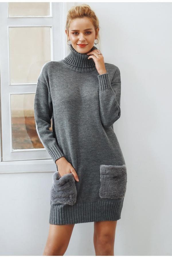 937a4eda884 Women s Elegant turtleneck knitted sweater Faux fur patchwork pocket ...