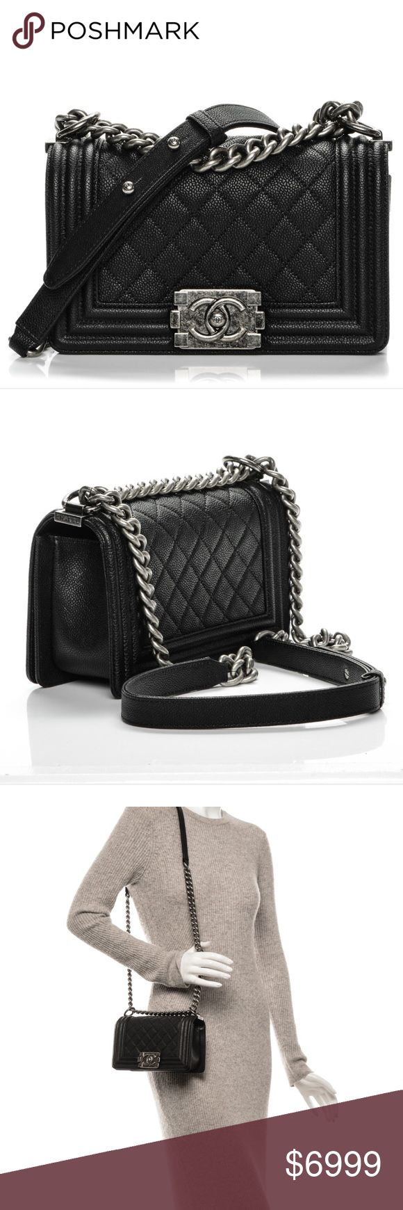 Chanel Quilted Caviar Flap Black Bag Leather We guarantee this is an authentic CHANEL Caviar Quilted Small Boy Flap Black or 100% of your money back. This chic shoulder bag is crafted of finely grained caviar-grained lambskin leather with a black. The bag features a ruthenium shoulder chain with a black leather shoulder pad, a diamond-quilted flap with a linear-quilted border, and a ruthenium CC boy push lock. The flap opens to a matching fabric interior with a pocket. This petite shoulder…