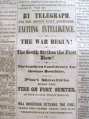 U.S. Civil War starts with shelling of Fort Sumter on April 12 ...