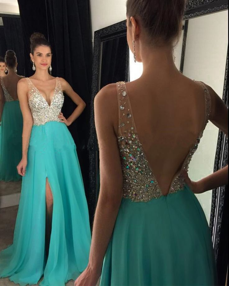 Turquoise Long Chiffon A-Line Formal Dress Featuring Beaded Bodice And Open Back,Long Elegant Prom Dresses