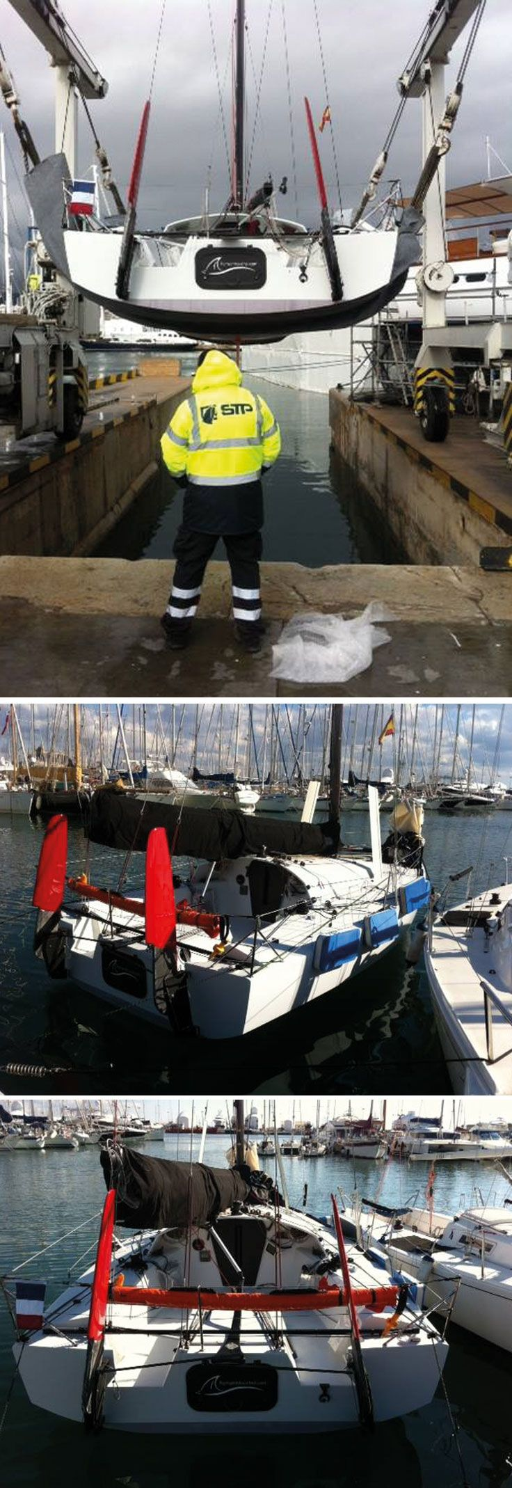 The Launch of the #MiniTransat 759 with @Rmouchel_346 was a great success last #Friday - followed by a successful sail that afternoon to test the new #rig and boat. Photo Credit to: Romain Mouchel www.technocraftsl.com #marinescaffold #yachtcover