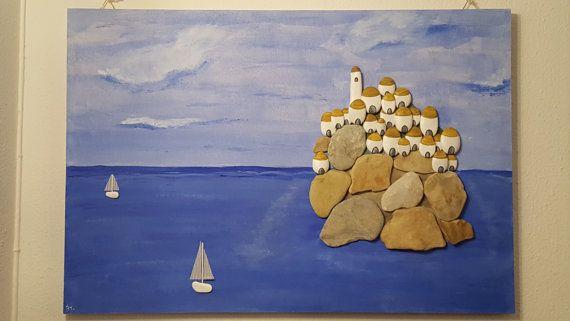 Guarda questo articolo nel mio negozio Etsy https://www.etsy.com/it/listing/473633282/il-mare-sassi-dipinti-pebble-art-quadro