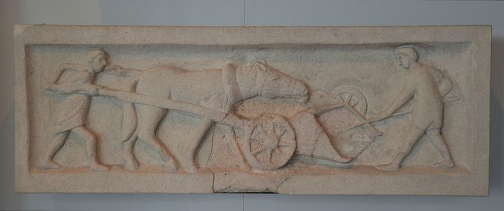 Limestone funerary relief with a harvesting scene, the Gallic reaping machine was called a 'vallus', Rheinisches Landesmuseum Trier, Germany