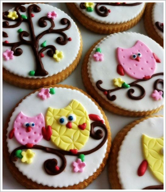 Pink and Yellow Owls on a Cookie