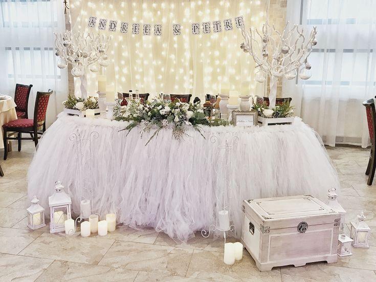 Winter fairytale wedding grooms table