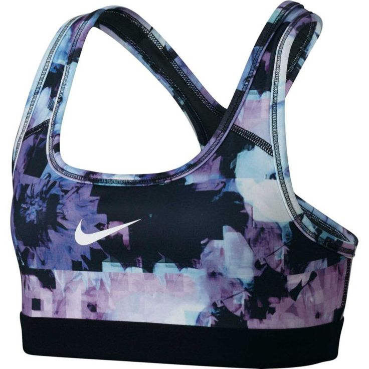 Nike Girls' Medium Support Printed Sports Bra, Purple