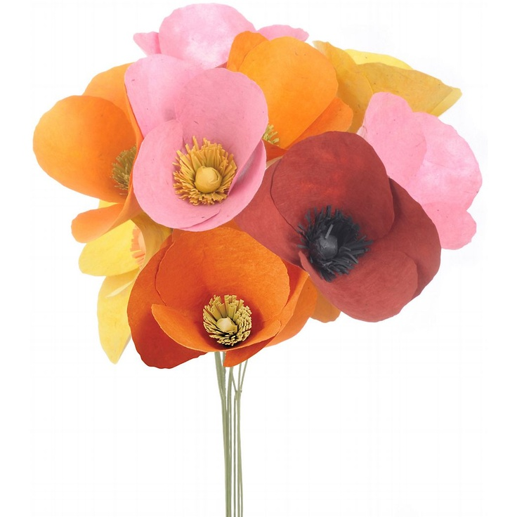 poppies: Flowers Crafts, Flowers Bouquets, Paper Poppies, Poppies Flowers, Paper Flowers, Paper Sources, Flowers Kits, Gardens Parties, Poppy Flowers