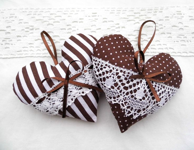 Brown hearts with lace