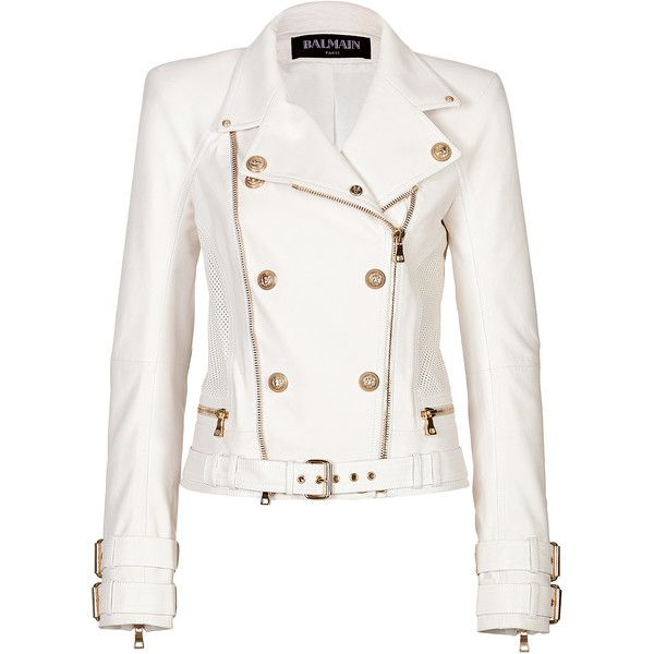 BALMAIN Leather Jacket (5,045 CAD) ❤ liked on Polyvore featuring outerwear, jackets, coats, balmain, coats & jackets, white leather jacket, perforated leather jacket, moto jacket, balmain jacket and asymmetrical zip jacket