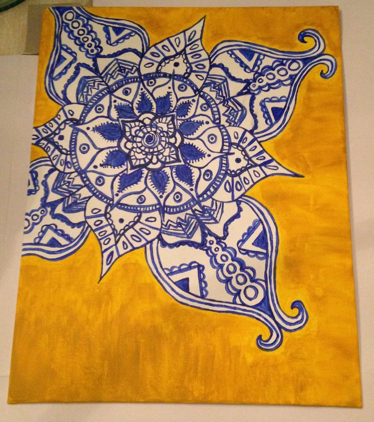 Etsy. Blue/Yellow Henna Canvas