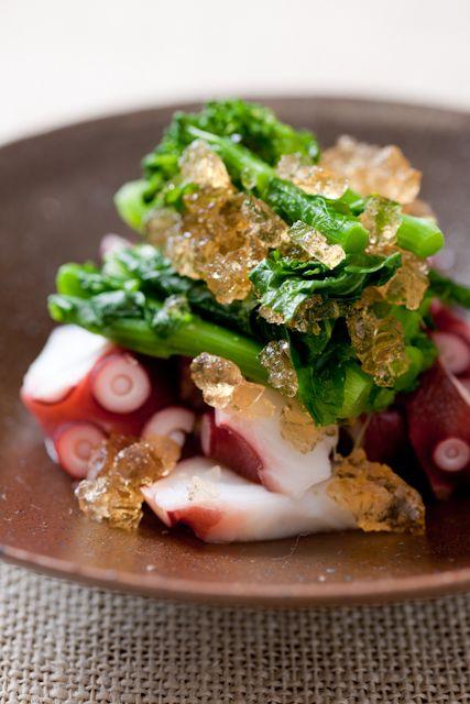 "Japanese ""Ohitashi"" Dish, Boiled Broccoli Rabe (Nanohana) and Octopus (Tako) with Broth Jelly"