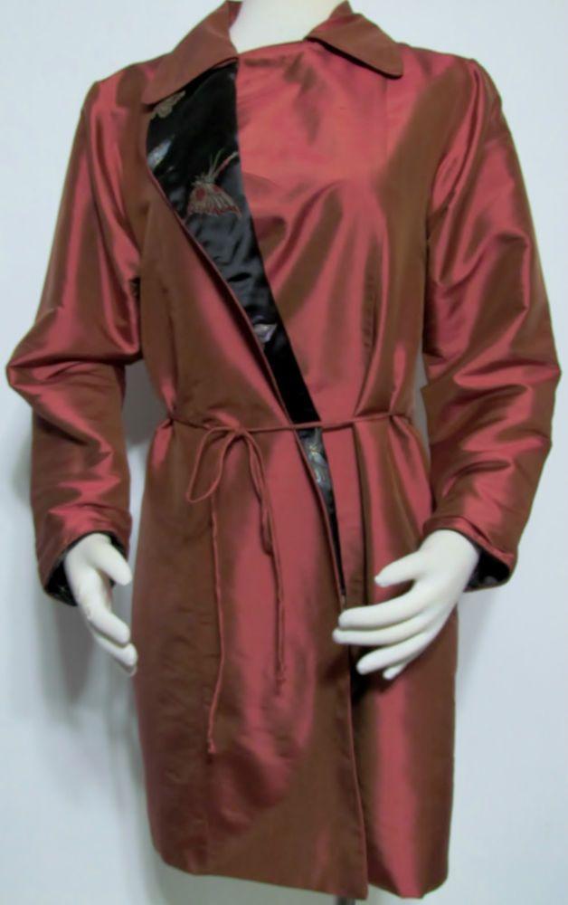 Womens Ladies KAI MIRA Rustic Red 100% Silk Lined Tunic Jacket Blazer S $379! #KiaMira #LongJacket