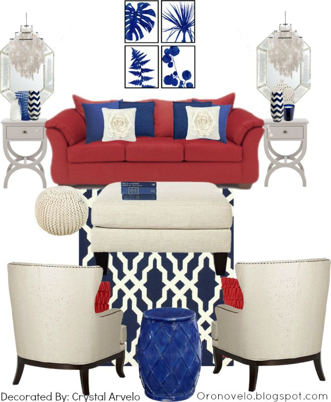 Red Couch Home Decorating Ideas. Red couch with white and blue decor. More ideas on my blog.