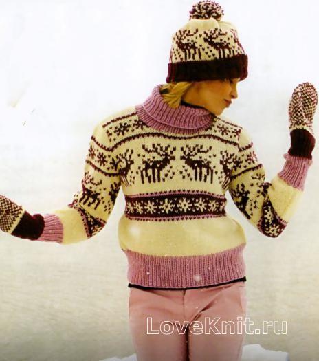 Схема спицами свитер с оленями в бело-розовой гамме