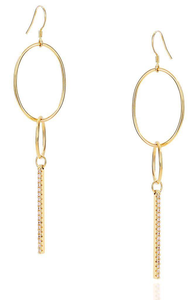 Link large hook gold vermeil earrings