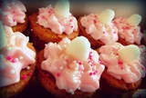 minis with cotton candy frosting, gold glitter