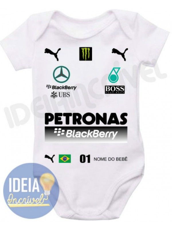Body Infantil Corrida F1 Equipe Mercedes Petronas 2015