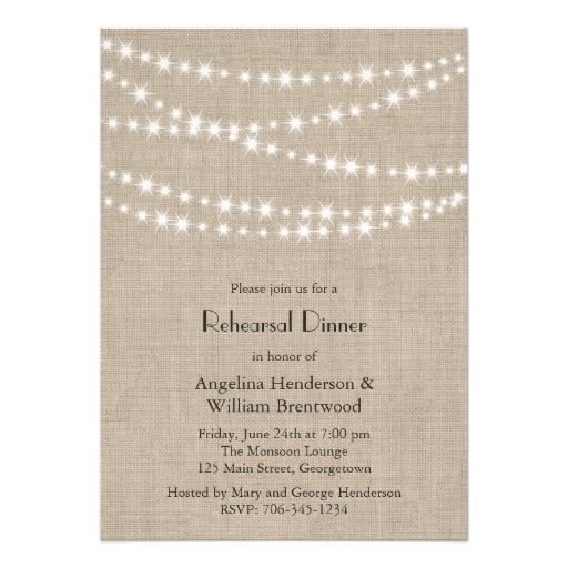 burlap rehearsal dinner invitation In our colors??