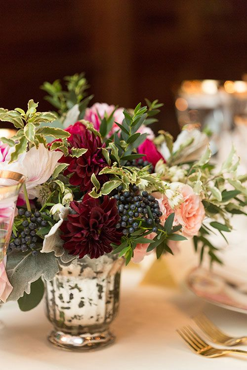 Silver Mercury Glass Vases with Jewel-Toned Flower Arrangements | Brides.com