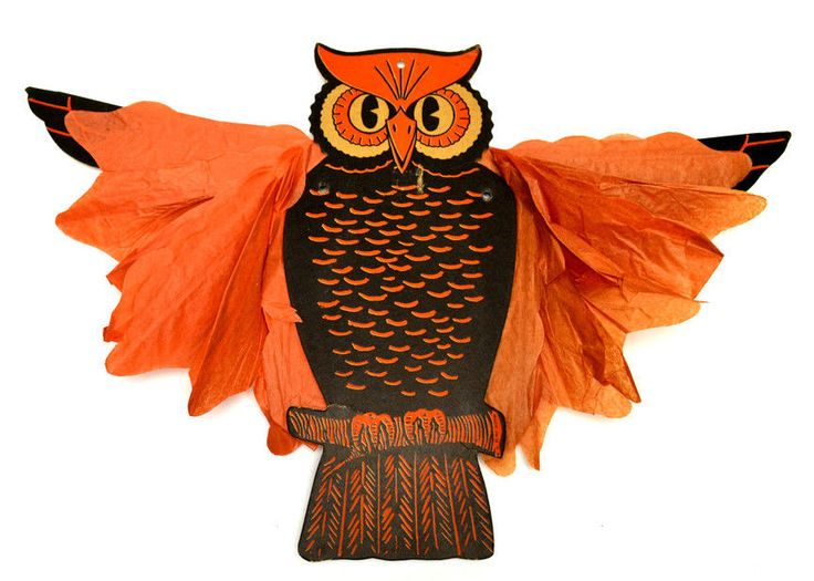 1939 beistle blix the halloween owl with art tissue body hanging decoration - Halloween Hanging Decorations