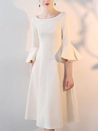c56d2ffc852 Bateau boat neck A-line Bell Sleeve Vintage Solid Midi Dress ...
