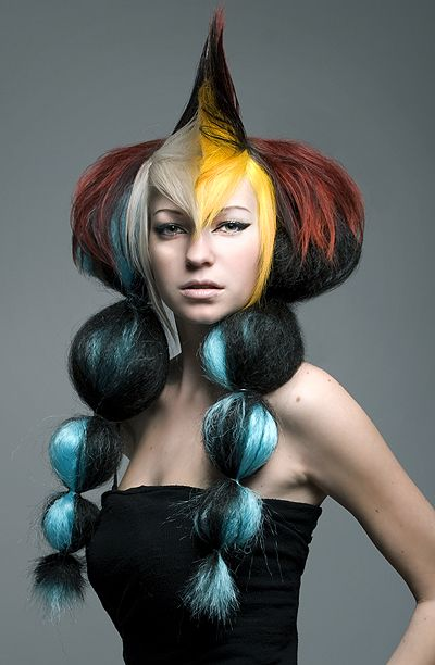 Creative wig ideas -- I believe this photo is from the Paul Mitchell hair/make-up student contest (circa 2010)