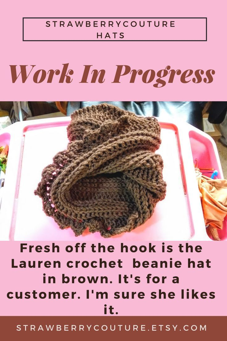 Fresh off the hook is the Lauren crochet  beanie hat in brown. It's for a customer. I'm sure she likes it | crochet beanie hat | crochet beanie hats for women | crochet beanie hat patterns | Crochet Beanie Hat Patterns | Crochet Beanie Hats | crochet beanie, hat | #strawberrycouture